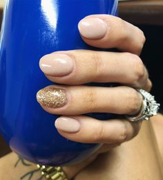Nude SNS Nails Gold Glitter