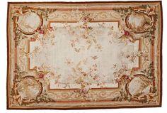 Tapisserie époque Napoléon III Wirkerei aus Wolle und Seide in pastellfarbener Polychromie. Allsei