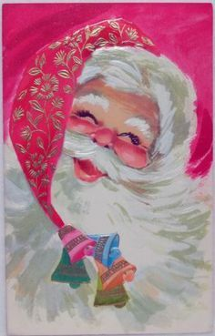 Santa with bells image from vintage Christmas card