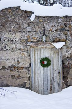 wreath and stone barn