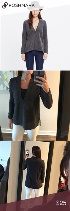Madewell Grey Top Grey Madewell top with V neck. No flaws and worn only one! Very comfortable! Madewell Tops