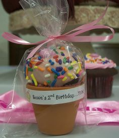 Cupcake Party Favor-Could have kids decorate the pot.