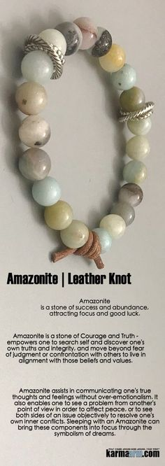 "Amazonite is a ""Stone of #Success and #Abundance"", attracting focus and good luck. The #Amazonite stone is a powerful talisman of #healing and prosperity. #leather #knot #Beaded #Beads #Bijoux #Bracelet #Bracelets #Buddhist #Chakra #Charm #Crystals #Energy #gifts #gratitude #Handmade #Healing #Jewelry #Kundalini #LawOfAttraction #LOA #Love #Mala #Meditation #Mens #prayer #pulseiras #Reiki #Spiritual #Stacks #Stretch #Womens #Yoga #YogaBracelets #prayer"