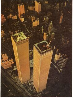 Aerial view of Twin Towers of World Trade Center under construction. Late 1972.