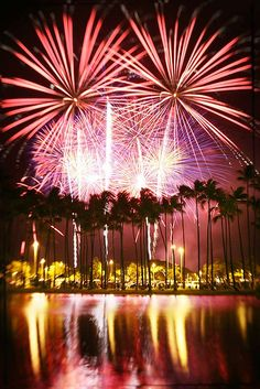 Fireworks in Honolulu is displayed every Friday at the Hilton Hawaiian Village.