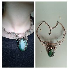 Copper wire fairy necklace with natural Aventurine by Tangledworld
