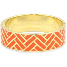 "Kate Spade New York ""Off The Beaten Path"" Hinged Orange Idiom Bangle... ($128) ❤ liked on Polyvore"