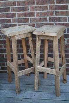 "YOUR Reclaimed Rustic and Recycled Oak Barn Wood Rectangle Top Bar Stool with a 24"" - 28"" Tall seats. $95.00, via Etsy."