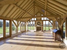 Completed Barn Interior in Oak Timber Framed Farmhouse in West Sussex by Carpenter Oak Ltd Devon