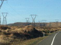Endless powerlines on the desert road