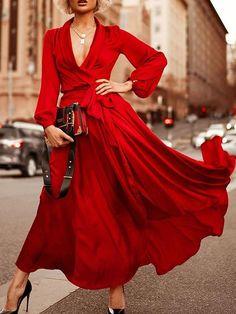 Long Sleeves Shawl Collar Wrap Maxi Dresses - Power Day Sale Elegant Dresses, Sexy Dresses, Beautiful Dresses, Evening Dresses, Fashion Dresses, Party Dresses, Formal Dresses, Summer Dresses, Wedding Dresses