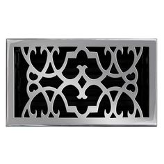 "This pewter finish solid brass floor register heat vent cover with a victorian scroll design fits 6"" x 10"" x 2"" duct openings and adds the perfect accent to your home decor."