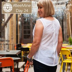BeeMine Day 24- A button back shell top in cotton eyelet