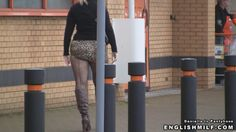 Daniella In Pantyhose videos - Daniella in arse revealing mini skirt and seamed fishnet tights flashing her bottom in public