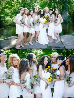 Barefoot bridesmaids in white. Captured By: Emily Elizabeth Photo ---> http://www.weddingchicks.com/2014/05/30/wild-and-free-bohemian-wedding/