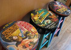 If I ever get my home theater room, I want these! If I ever get my home theater room, I want these! Decoupage Furniture, Painted Furniture, Diy Furniture, Painted Chairs, Furniture Design, Chair Design, Comic Book Crafts, Comic Book Rooms, Comic Room