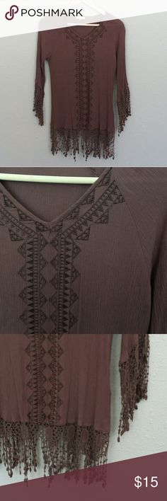 Anthropologie Crochet Fringe Embroidered Tunic Brown Crochet Fringe Embroidered Tunic  NWOT  FAST SHIPPING  TOP RATED SELLER Anthropologie Tops Tunics