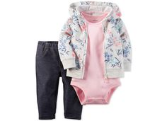 Carter's Baby Girls' 3-Pc. Floral-Print Hoodie, Bodysuit & Jeggings Set - Sets & Outfits - Kids & Baby - Macy's