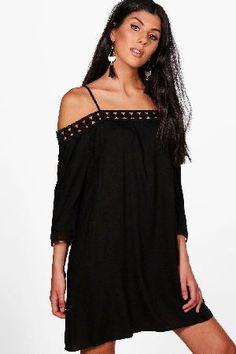 #boohoo Lace Trim Off The Shoulder Shirt Dress - black #Maisie Lace Trim Off The Shoulder Shirt Dress - black