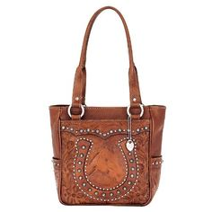 American West Leather Rodeo Womens Tote Bag W/ Gorgeous Horseshoe Design Studd