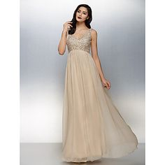 TS Couture® Formal Evening Dress Plus Size / Petite A-line V-neck Floor-length Chiffon with Beading – USD $ 139.99