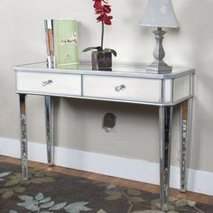 Mirrored Console Table Vanity Desk Mirror Glam 2 Drawers Home Furniture - Splurge