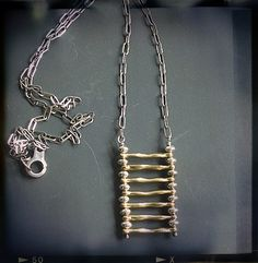 Necklace with Pendant in Brass and Sterling Silver on a Long Chain - Daphne - Joanna Morgan Designs