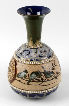 A late Victorian Doulton Lambeth vase. 4/28, 5am
