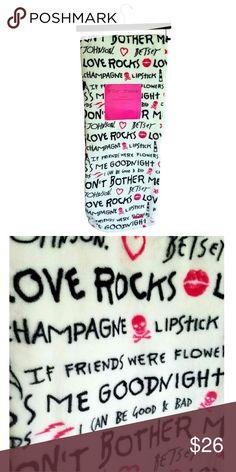 "Betsey Johnson Oversized Throw Blanket ""Love Rocks Betsey Johnson Oversized Throw Blanket ""Love Rocks"" Ultra Soft Plush Throw. Fun Betsey Love Rocks, Champagne, Lipstick, Skulls Pattern 50"" x 70"" 100% Polyester Brand New Betsey Johnson Other"