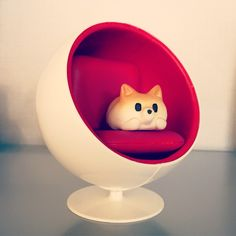 Shiba toy + ball chair miniature