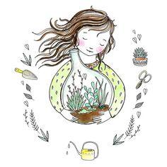 marieke ten berge: terrarium Diy Art, Cecile, Cactus Y Suculentas, A4 Poster, Beauty Art, Cute Illustration, Collage Art, Cute Art, Amazing Art