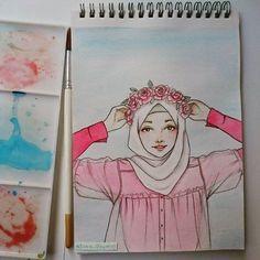 Hijab Drawing : #hijab#crown#flower