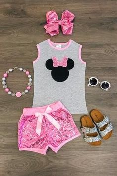 Minnie Mouse on front with sequin bow and paired with matching sequin shorts. Comes in Red or Pink. Sizes- mo, XS SM M LG XL Runs true to size. Accessories are sold seperately Little Girl Outfits, Cute Outfits For Kids, Toddler Girl Outfits, Baby Girl Fashion, Toddler Fashion, Kids Fashion, Buy Kids Clothes Online, Kids Online, Sequin Shorts