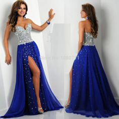 Online Shop Dazzling Sweetheart Neckline Sleeveless Strong Beaded/Crystal A-Line Long Royal Blue Evening Dresses 2015 Front Slit Party Gowns Aliexpress Mobile