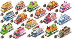 Fast Food Truck Isolated Van Vector 3D Isometric Vehicle Bundle