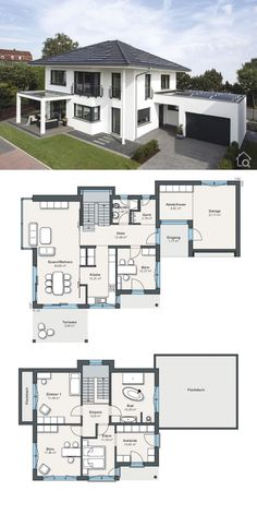 Prefabricated house city villa floor plan with garage hipped roof architecture, house ideas. : Prefabricated house city villa floor plan with garage hipped roof architecture, house ideas with plaster facade white , Prefabricated Houses, Prefab Homes, Design Garage, House Design, Garden Design, Building Plans, Building A House, Plan Ville, House Construction Plan