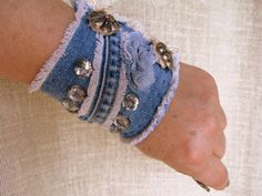Denim Charming Cuff Bracelet with Lace and Vintage от mycrazycraft