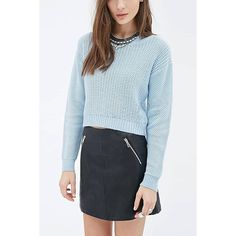 Yoins Yoins Light Blue Round Collar Dropped Shoulder Knit Sweater ($23) ❤ liked on Polyvore featuring tops, sweaters, blue, shirts & tops, long sleeve shirts, blue sweater, blue knit sweater and long sleeve knit tops