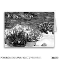 Pueblo Southwestern Winter Custom Greeting Cards