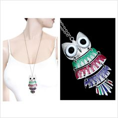 Multi-coloured Layered Owl Necklace #CatwalkFashion #Accessories #CatwalkAccessories #2013 #Spring #SpringFashion #Fashion #Colors #Colours #Brights #Neon #Darks #Classy #Sexy #Casual #Beauty #SmartCasual #Outfitoftheday #OOTD #PhotoOfTheDay #MakeUp #LooksforLess #Dress #Top #Ghutra #GhutraFashion #Hair #Model #Ladies #WomensFashion