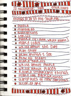Things to do in my journal...from Radical Self Love Bible inspiration. What would my list look like? Different for my sketchbook (journal) and my MS Word journal.