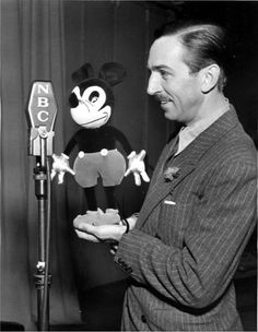 Mickey Mouse and Walt Disney, on the radio - c. 1930s