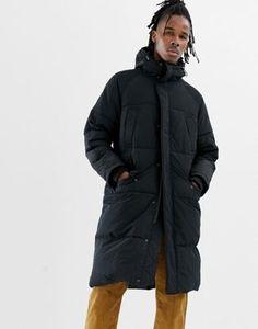 ba172a0b0067d ASOS DESIGN longline puffer jacket with hood in black Cooler Look