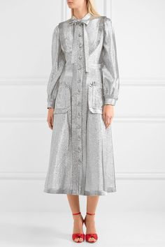 Gucci - Pussy-bow Ruffled Lamé Midi Dress - Silver - IT42