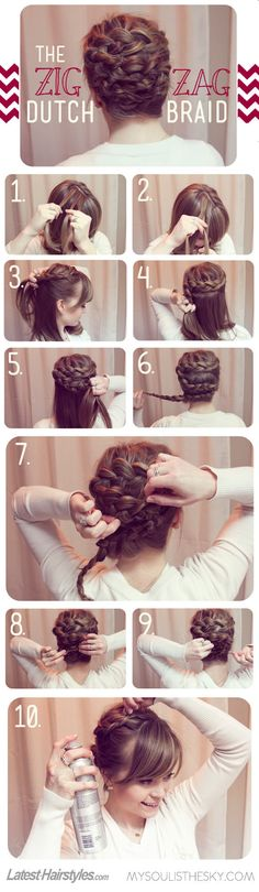 This braided look has a serious WOW factor! Learn how to recreate it here: http://www.latest-hairstyles.com/tutorials/zig-zag-dutch-braid.html