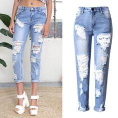 Hearty Women Boy Friend Jeans With Holes Elasitc Waist Straight Denim Girls Ankle Length Ripped Jeans For Women Plus Size Jeans