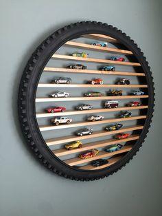 Hot Wheels Storage, Hot Wheels Display, Boy Room, Kids Room, Used Tires, Matchbox Cars, Unique Wall Art, Wood Slats, Home Decor Ideas