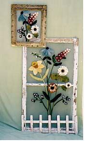 Add screen to old window frames and attach wool pieces
