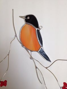 Favorite backyard bird American Robin on 3-D branch stained glass sun catcher
