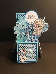 Disney's Frozen birthday box card I made with my Cricut explore. By Lynnette Duenas.